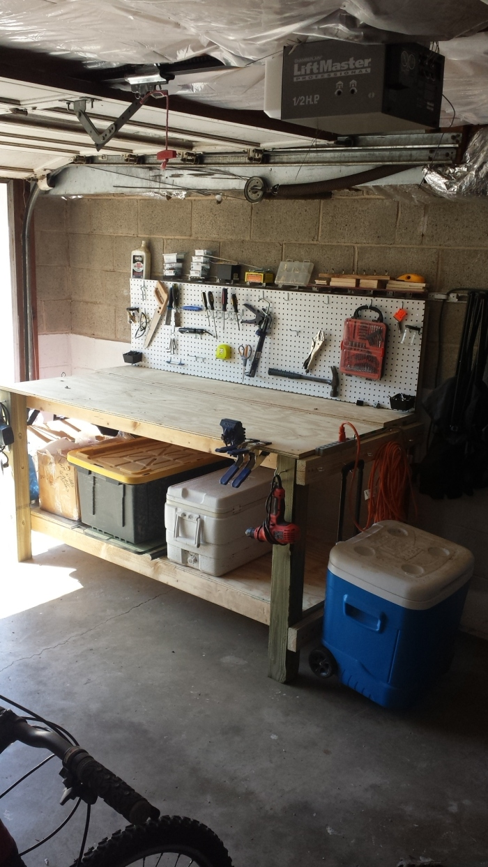 Custom Wood Work Bench with attached Peg Board